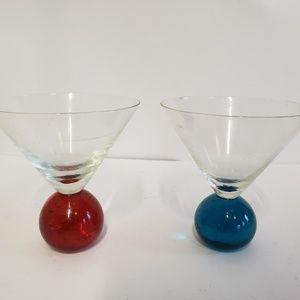 Other - Pair Glass ball base Martini glasses red and blue